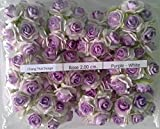 PURPLE WHITE 100 Artificial Mulberry Paper Rose Flower Wedding Scrapbooking Craft 2cm