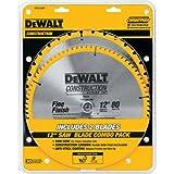 DEWALT DW3128P5 80-Tooth 12 in. Crosscutting Tungsten Carbide Miter Saw Blade - 2 Pack
