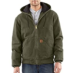Carhartt Men\'s Big & Tall Quilted Flannel Lined Sandstone Active Jacket J130,Army Green,X-Large Tall