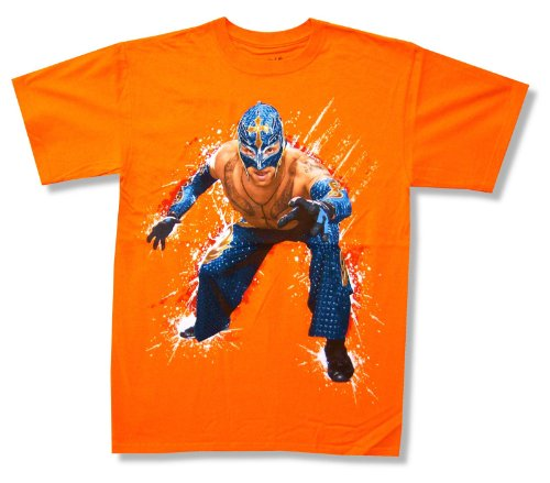 "Youth Wwe Wrestling ""Rey Mysterio"" Orange T-Shirt (Youth Medium) front-162096"