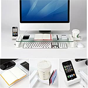 [Built-in 3 Port] Monitor Stand - Eutuxia® [Arctic White] Multi-funtion Universal Monitor Laptop Multimedia Stand with built-in 3 Port USB 2.0