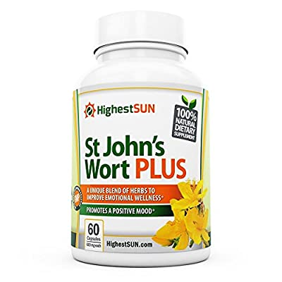 St Johns Wort PLUS Mood Enhancing Herbal Blend incl. L-Phenylalanine, Ginkgo biloba, St. John's Wort Extract - Mood Booster Supplement - Promotes Positivity