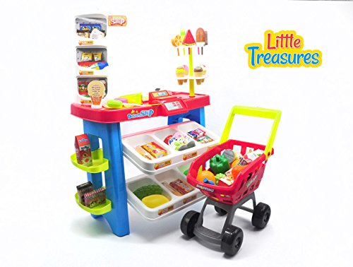 Little-Treasures-46-Piece-Supermarket-Toy-Set-Includes-Dessert-Shop-Stand-and-Cash-Register-3-Years-and-Up