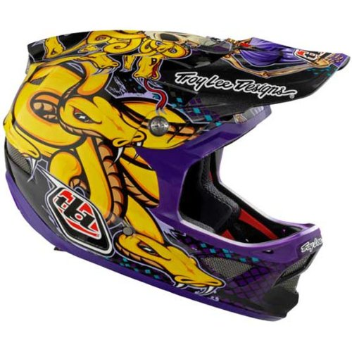 Troy Lee Designs Medusa CF D3 Carbon Bike Racing BMX Helmet w/ Free B&F Heart Sticker - Purple / Medium
