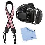 BIRUGEAR Pink Flower Soft Neoprene Camera Shoulder / Neck Strap + Black Hand Strap for Panasonic Lumix DMC-GH3 G6 GF6 G5 GF5 FZ72 FZ62 LZ30 LZ20 Digital Cameras *with Cleaning Cloth*
