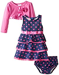 Nannette Baby Girls\' 3 Piece Polka Dot Dress Set, Purple, 18 Months