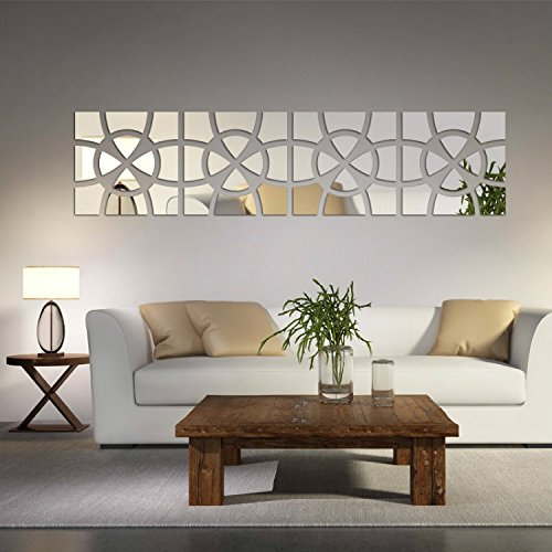 Alrens(TM)48pcs/Set Geometric Art Mirror Effect 3D Wall Sticker TV Backdrop Door Decorative DIY Painting Acrylic Sticker Living Room Home Decor