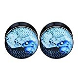 Longbeauty Pair Acrylic Ear Gauges Plugs Flesh Tunnels Expanders Screw Koi Fish YinYang Stretchers