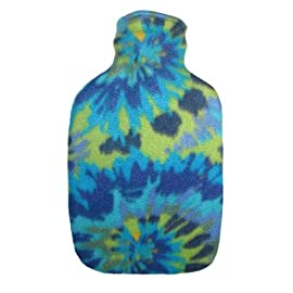 Warm Tradition Groovy Tie Dye Fleece Covered Hot Water Bottle - Bottle made in Germany, Cover made in USA