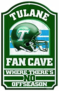 Buy NCAA Tulane Green Wave 11-by-17 Inch Fan Cave Wood Sign by WinCraft