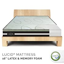 "Hot Sale 16"" LUCID by LinenSpa Natural Latex and Memory Foam Mattress Plush Four-Layer with Bamboo Charcoal Bed 25-Year Warranty,  King"