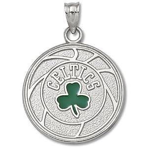 ENNSP20589V-925 Silver Boston Celtics Enamel Basketball Pendant by NBA Officially Licensed