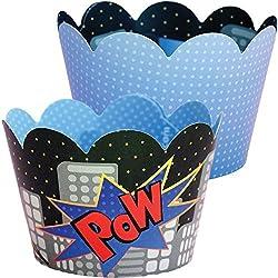 Superhero Party Supplies, Comic Book Royal Blue Cupcake Wrapper Decorations, Confetti Couture Party Supplies, 36 Wraps
