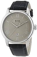 Hugo Boss - 1512975 - Montre Homme - Quartz Analogique - Cadran Argent - Bracelet Cuir Gris