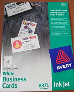Amazon Avery 8371 Ink Jet White Business Cards 100