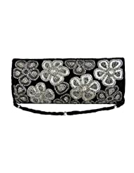 SMART PARTY WEDDING BLACK CLUTCH FITTED WITH BEADS AND DIAMANTE