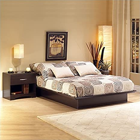 South Shore Back Bay Dark Chocolate Wood Platform Bed 6 Piece Bedroom Set - Full