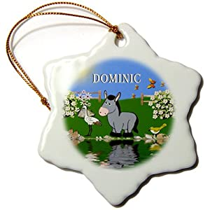 3dRose Orn_50106_1 Decorative Donkey and Bird Art Design for Children Personalized with The Name Dominic Snowflake Decorative Hanging Ornament, Porcelain, 3-Inch