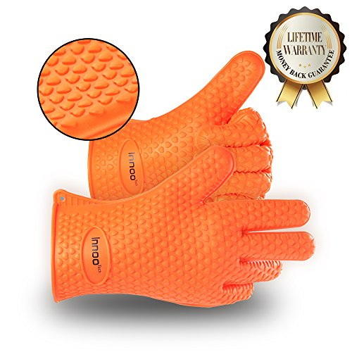 BBQ Gloves Silicone Heat Resistant BBQ Grill Gloves Great for Barbeque, Oven, Cooking, Frying, Baking, Smoking, Potholder, FDA Approved and BPA Free