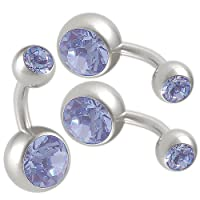 14g 14 gauge (1.6mm), 1/4 inches 6mm long - surgical steel belly button rings bulk set earrings ear ball Light Sapphire Swarovski Crystal Jeweled Navel bars lot AQAG- Pierced jewellery Body Piercing Jewelry- Set of 3 from bodyjewellery