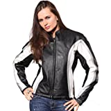Wilda Women's Side Striped Leather Motorcycle Jacket-XL-White by NYC Leather Factory Outlet