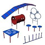 BarkPark Small Dog 6-Piece Advanced Agility Course Set, Blue/Red