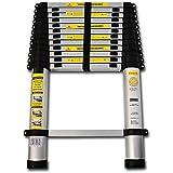 OxGord® Aluminum Telescopic Ladder 12.5 FT Heavy Duty Commercial Grade - Extendible Work Light Weight Multi-Purpose - 330 LB Capacity - 2015 Newest Technology
