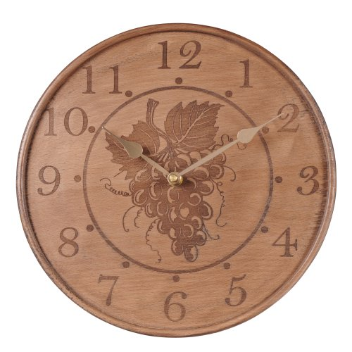 Grasslands Road 2-Pack In Vino Veritas Carved Grapes Wooden Clock, 11-Inch