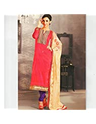 Ali Colours Glamrous Cotton Embroidered Dress Material With Pure Chiffon Dupatta For Women - B00WX2N550