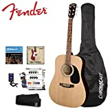 Fender Natural Acoustic Guitar Kit - Includes: Strings, Strap, Tuner, ChromaCast Guitar bag and GoDpsMusic Pick Sampler