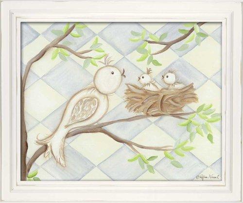 """Doodlefish Framed 18'x15"""" Wall Art, Bird Blue Diamond"""