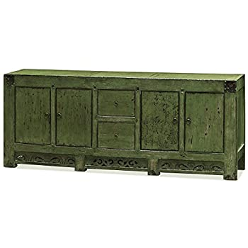 China Furniture Online Tang Style Buffet Cabinet, Solid Elm with Distressed Green Finish