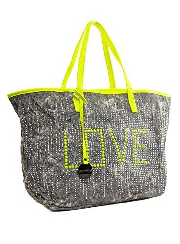 Life & Style Borsa-Manico Borsa Shopper Tracolla da donna borsone Weekender Love Alex Max b0608a K grigio scuro Dark Grey Women, Grigio (Grigio scuro), One Size