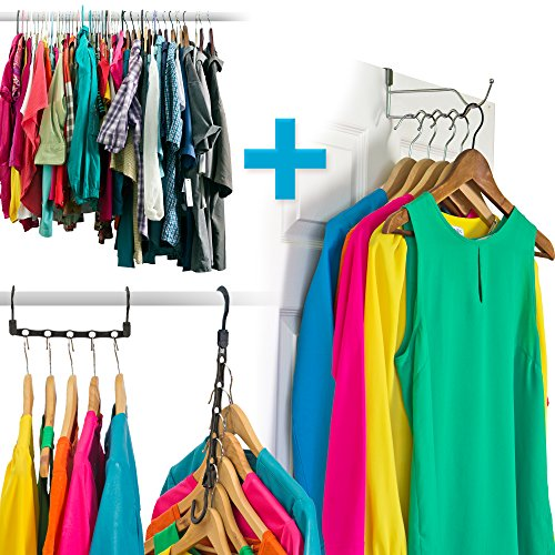 Amazing Space Saving Hangers Closet Organizer (10 Pack) PLUS A Single Hook Over The Door Hanger Rack - Organise Bedroom, Bathroom, Closets - Hang Shirts, Coats, Towels, Robes, Hats (Double Bedroom Doors compare prices)