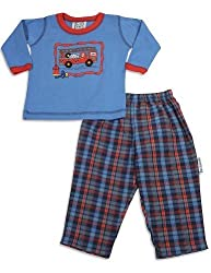 Mis Tee V-Us - Baby Boys Long Sleeve Plaid Pant Set, Blue, Red 26037-6Months
