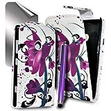 Accessory Master Etui Flip en cuir pour Nokia Lumia 520 Motif Lotus Fleur Violet
