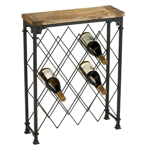 Reclaimed Wood & Oxidized Iron Wine Rack Console Table (Wine Console Table compare prices)