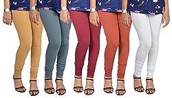 Vimal Cotton Blended Churidhar Leggings ( Pack Of 5)