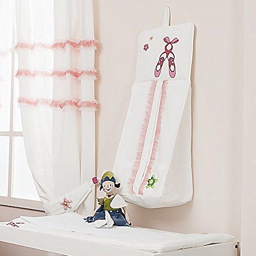 """'Pannolino conservazione """"Ballerina, in cotone di bambù, Portapannolini da appendere rosa per bambine"""