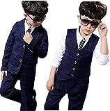 Eiza 男の子 フォーマル スーツ 3点 セット ジャケット ベスト パンツ チェック 柄 紺色 結婚式 発表会 e144 (140cm)