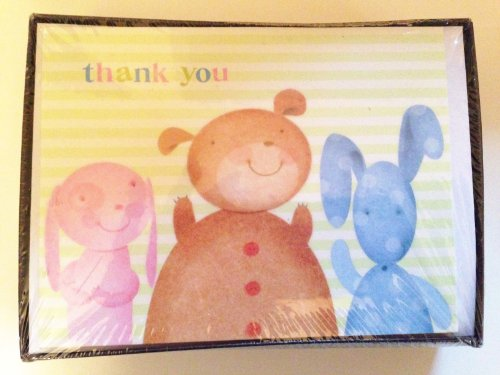 Thank You Notes Box Set 20 Cards With Envelopes Baby, Puppies, Bears Pastel front-1025738