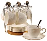 Jusalpha® Porcelain Tea Cup and Saucer Coffee Cup Set with Saucer and Spoon 20 pc, Set of 6 (6 Tea Cup Set With Bracket)