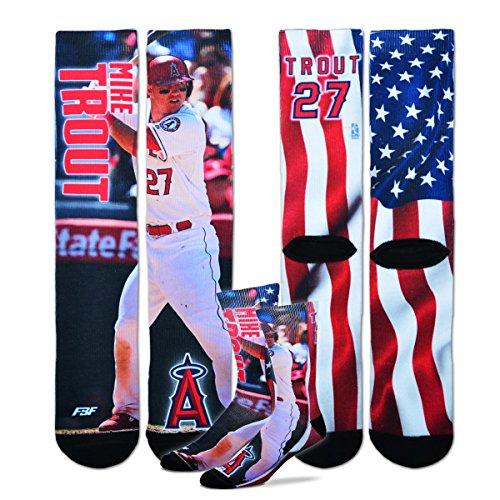 Mike Trout - MLB Mega Flag Sublimation Crew Socks Size Large 10-13