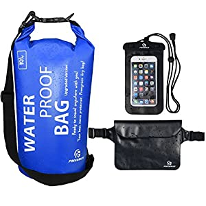 Set of 3 Premium Waterproof Bags -Dry Bag with Seals and Shoulder Strap, Waterproof Pouch with Waist Strap and Waterproof Phone Case (Navy Blue, 10L)