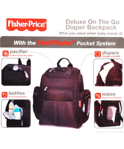 fisher price fastfinder deluxe diaper backpack black one size diaper bag nappy bags designer. Black Bedroom Furniture Sets. Home Design Ideas