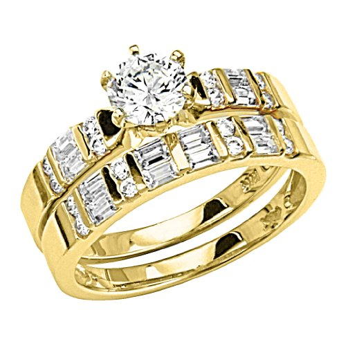 14K Yellow Gold Solitaire Round CZ Cubic Zirconia High Polish Finish Ladies Wedding Engagement Ring with Round & Baguette Side Stone and Matching Band 2 Two Piece Sets (Size 4 to 9) - Size 4