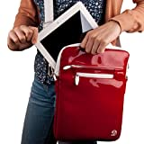 RED Luxury Non-Scratch Extra Padded Material with Soft Suede Lining and Reinforced Patent Leather Walls Design Slim Compact Protective with Accessories Compartment ( Best Selling Carrying Case Sleeve Cover Shoulder Messenger Bag ) For Netbook Navigator NAV 9 / Netbook Navigator NAV7 / Panasonic Tough Pad A1 Tablet