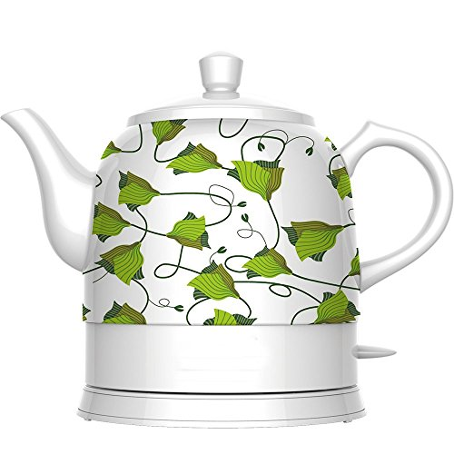 IBAMA Teapot Ceramic Electric Kettle, Cordless Water Tea, 1.2L (Green Pattern) (Porcelain Teapot Electric compare prices)
