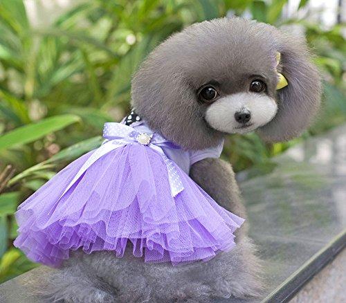 Pet Cat Dog Heart Shape Dot Princess Tutu Dress Skirt Cat Puppy Small Girl Dog Clothes Purple S