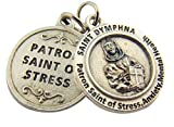 Silver Toned Base Patron of Stress Saint Dymphna Medal Pendant, 3/4 Inch